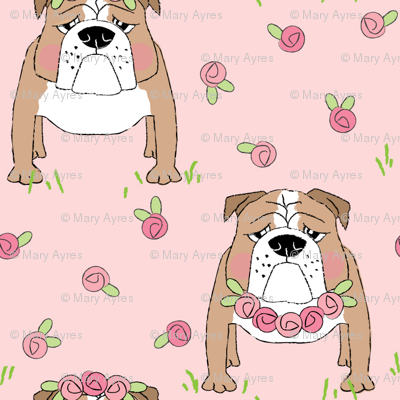 english bulldogs-with-roses on pink