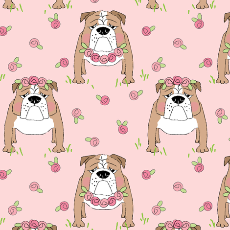 english bulldogs-with-roses on pink fabric by lilcubby on Spoonflower - custom fabric