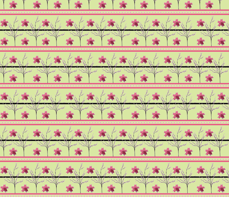 Cherry Blossom Stripe - origami-green fabric by kae50 on Spoonflower - custom fabric