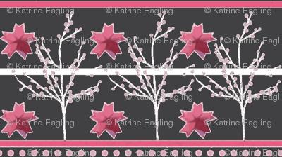 Cherry Blossom Stripe - origami - charcoal