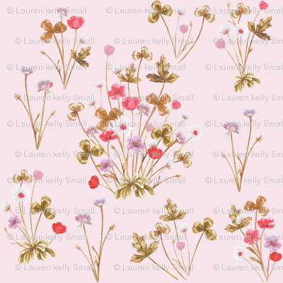 Meadow Floral, Copper & Palest Rose Pink, Smaller