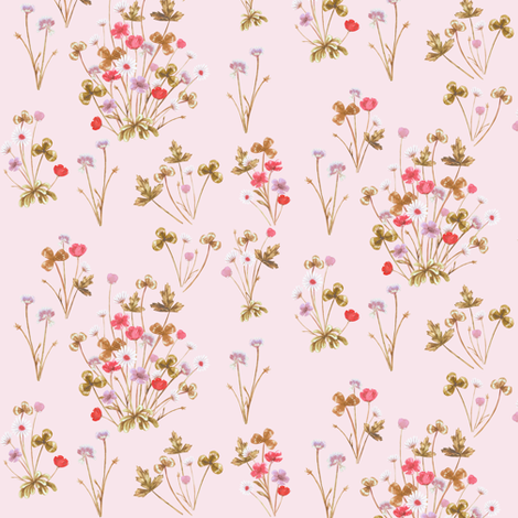 Meadow Floral, Copper & Palest Rose Pink, Smaller fabric by thistleandfox on Spoonflower - custom fabric