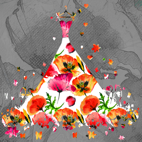 MEDIUM SCALE DREAMY POPPIES DRESSES red orange on grey fabric by floweryhat on Spoonflower - custom fabric