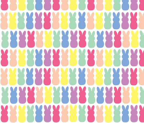 Rainbow peep bunnies  fabric by brookiesdesigns on Spoonflower - custom fabric