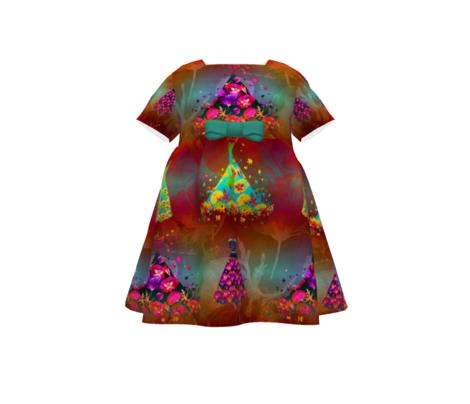 SMALL SCALE DREAMY POPPIES DRESSES MULTI COLOR CARAMEL AQUA PINK