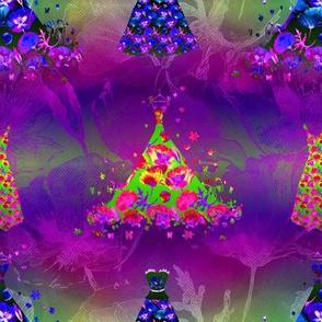 SMALL SCALE DREAMY POPPIES DRESSES MULTI COLOR ULTRA VIOLET purple green fuchsia pink