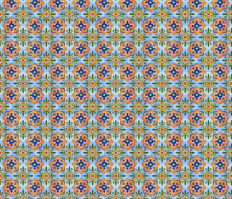 Spanish Tiles. Watercolor painting fabric by julia_faranchuk on Spoonflower - custom fabric