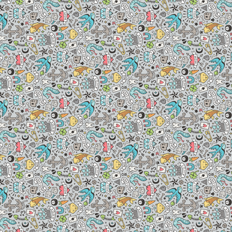 Tattoo Doodle Blue on Light Grey Tiny Small Rotated fabric by caja_design on Spoonflower - custom fabric