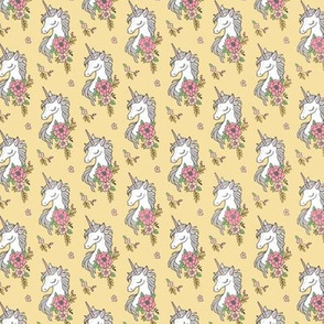 Dreamy Unicorn & Vintage Boho Flowers on  Yellow Smaller 1,5 inch