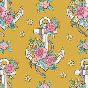 Anchor Nautical & Vintage Boho Roses Flowers on Mustard Yellow
