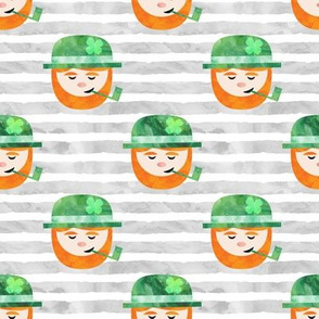 Leprechaun w/ pipe on grey stripes