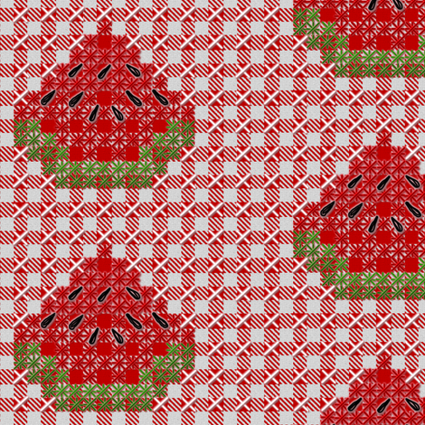 Watermelon Chickenscratch Gingham fabric by eclectic_house on Spoonflower - custom fabric