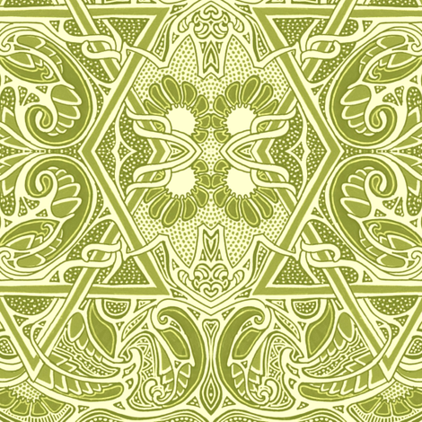 Soft Green Flowering Geometry fabric by edsel2084 on Spoonflower - custom fabric