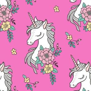 Dreamy Unicorn & Vintage Boho Flowers on Dark Pink