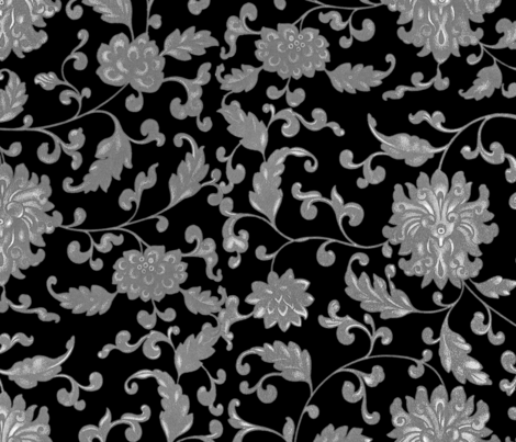 Keeping Mum Damask _ Silver on Black _ Peacoquette Designs _ Copyright 2015 f fabric by peacoquettedesigns on Spoonflower - custom fabric
