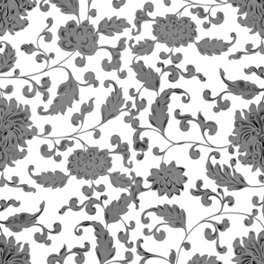 Keeping Mum Damask ~ Pewter on White _ Peacoquette Designs _ Copyright 2017