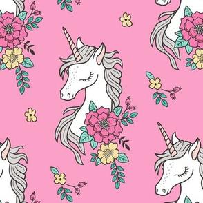 Dreamy Unicorn & Vintage Boho Flowers on Medium Pink