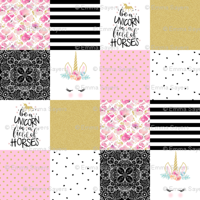4.5 Inch - be a unicorn - wholecloth cheater quilt