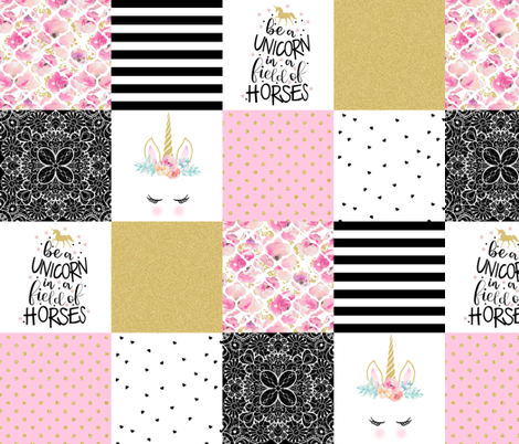 4.5 Inch - be a unicorn - wholecloth cheater quilt  fabric by longdogcustomdesigns on Spoonflower - custom fabric