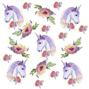 Watercolour Unicorn with Florals