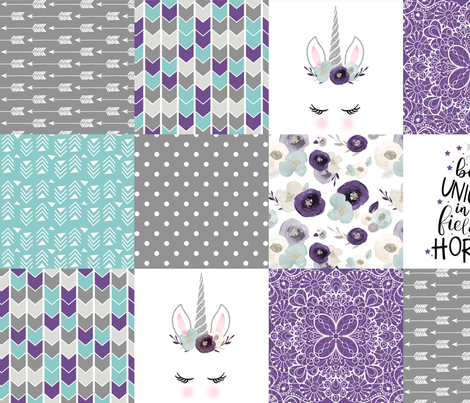 Be A Unicorn - Wholecloth Cheater Quilt - Dark Purple fabric by longdogcustomdesigns on Spoonflower - custom fabric