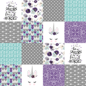 Be A Unicorn - Wholecloth Cheater Quilt - Dark Purple
