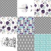 Be a unicorn//Dark purple - Wholecloth cheater quilt - rotated