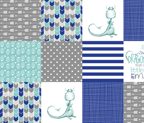 Bright Dragon Tails - Wholecloth Cheater Quilt  fabric by longdogcustomdesigns on Spoonflower - custom fabric