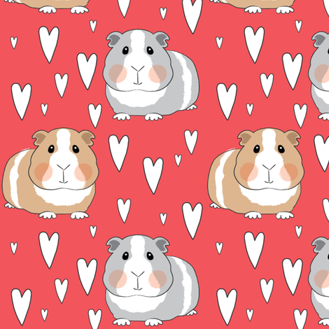 guinea-pigs-and-hearts-on-red fabric by lilcubby on Spoonflower - custom fabric