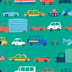 cars & trucks (teal ground)