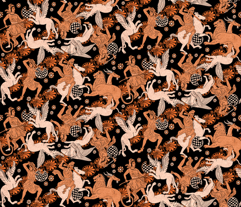 Greek Warriors vs Griffins fabric by vinpauld on Spoonflower - custom fabric