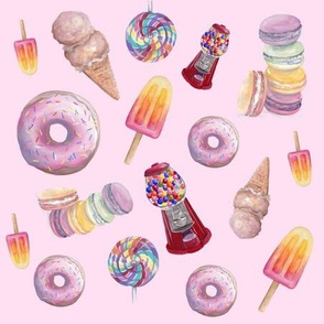 Sweets fabric pale pink Lollipops, donuts, popsicle, macaroons