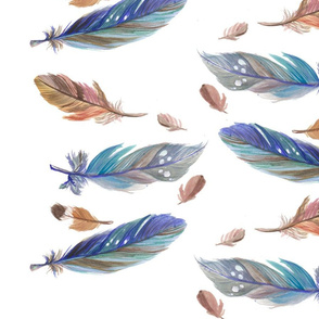 Blue and Brown Watercolour Feathers