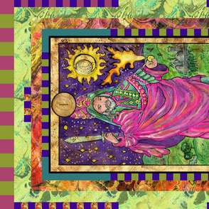 THE MAGICIAN WARLOCK TAROT CARD FAT QUARTER PANEL MAJOR ARCANA