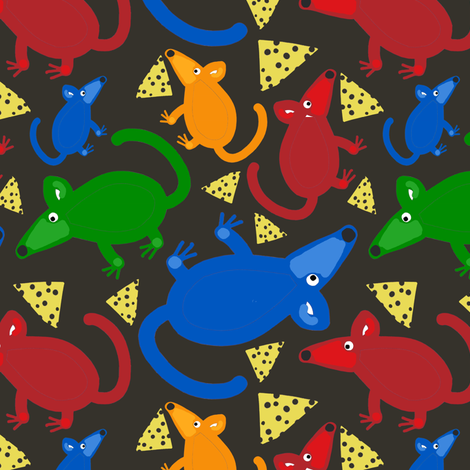 Mouse with Cheese Charcoal fabric by stephaniecolecreations on Spoonflower - custom fabric
