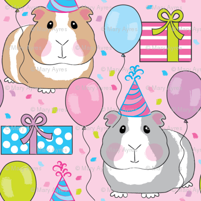 birthday party guinea-pigs-on-pink