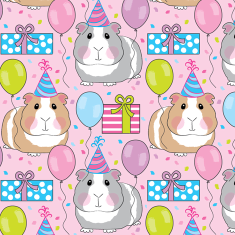 birthday party guinea-pigs-on-pink fabric by lilcubby on Spoonflower - custom fabric