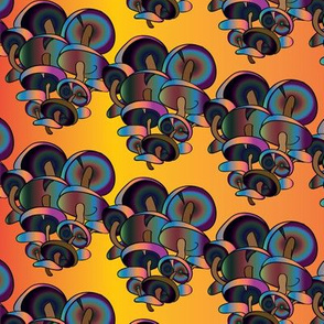 Trippy Dark Wild Rainbow Mushrooms in a Field of Yellow
