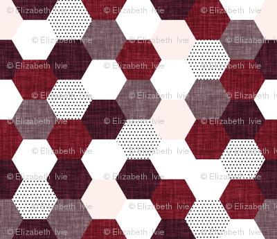 hexagon wholecloth // pale pink, heather linen, spice linen, plum linen
