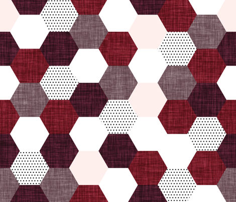 hexagon wholecloth // pale pink, heather linen, spice linen, plum linen fabric by ivieclothco on Spoonflower - custom fabric