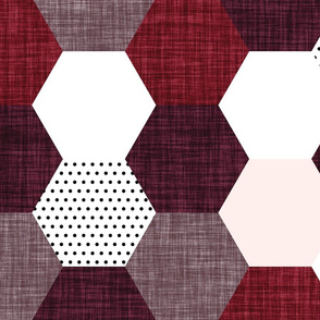 hexagon wholecloth // pale pink, heather linen, spice linen, plum linen