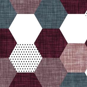 hexagon wholecloth // plum, rosewood, heather, slate