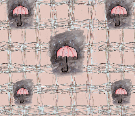 MANOA RAIN PEACH PLAID (3) fabric by hunnellekari on Spoonflower - custom fabric