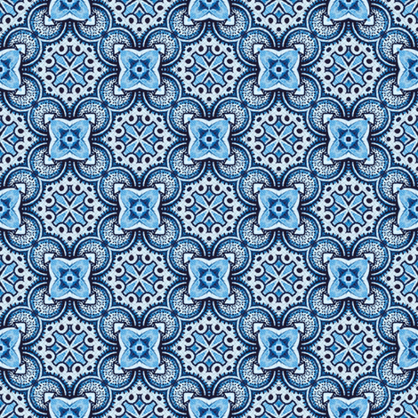 Turkish tiles in blue fabric by ruth_cadioli on Spoonflower - custom fabric