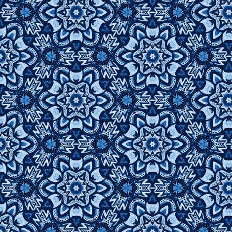 Aztec blue Snowflakes fabric by ruth_cadioli on Spoonflower - custom fabric