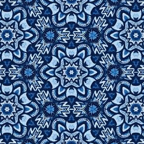 Aztec blue Snowflakes
