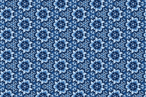Blue Aztec Midnight Bloom  fabric by ruth_cadioli on Spoonflower - custom fabric
