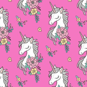 Dreamy Unicorn & Vintage Boho Flowers on Dark Pink Smaller