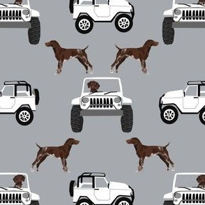 German Shorthaired pointers adventure fabric - grey