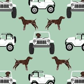 German Shorthaired pointers adventure fabric -  mint